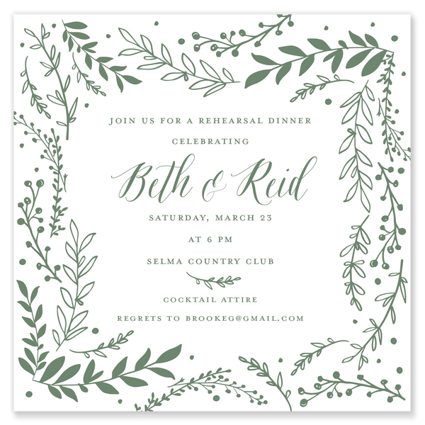 Greenery Square Shower Invitation