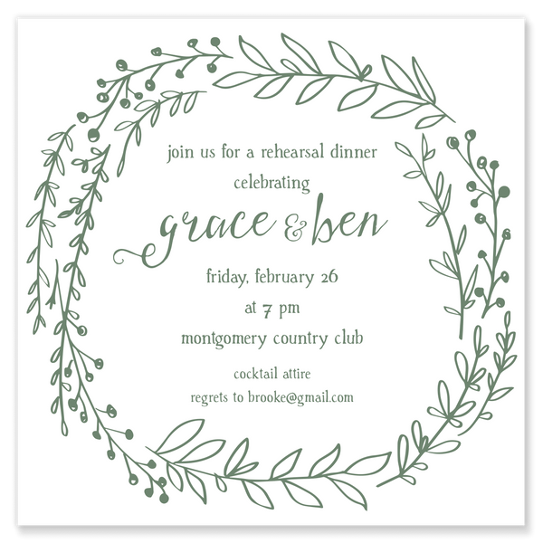 Greenery Wreath Shower Invitation