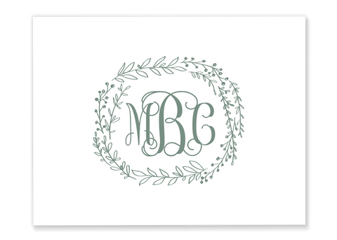 Greenery Monogram Wreath Folded Note Card