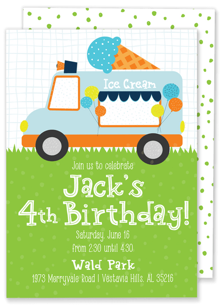 Ice Cream Truck Birthday Party Invitation