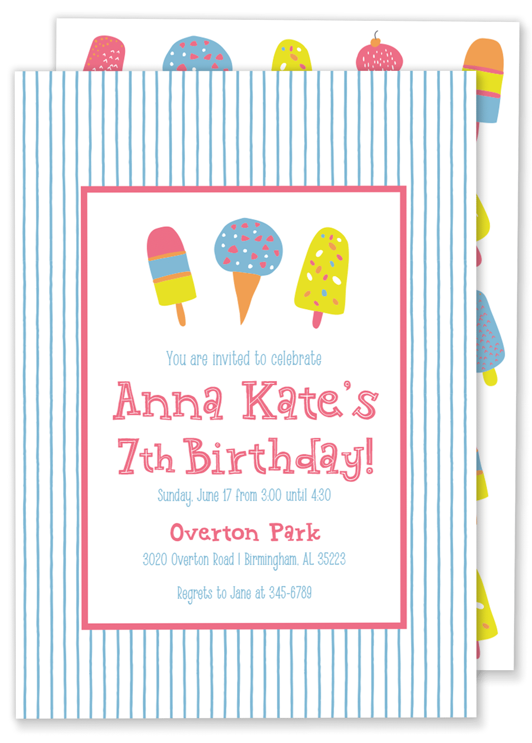 ice cream popsicle birthday party invitation gilm press