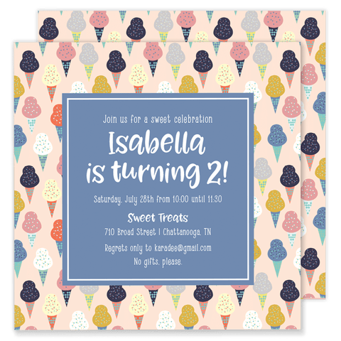 Isabella Ice Cream Party Invitation