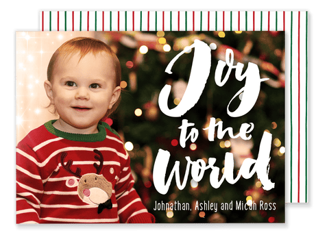 Joy to the World Stripe Christmas Card