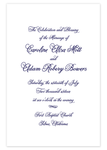 Landscape Script \\ Folded Wedding Program
