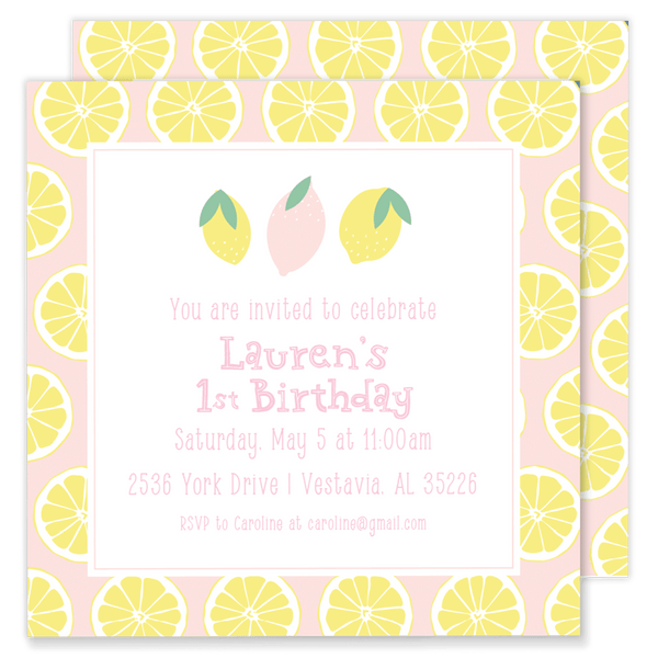 Lauren's Lemon Slices Party Invitation