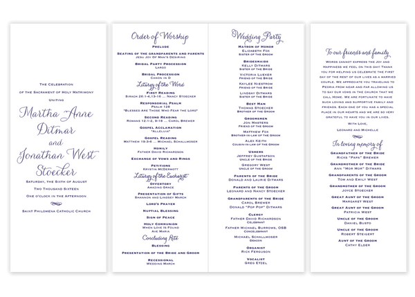 Lindsay Vertical \\ Folded Wedding Program