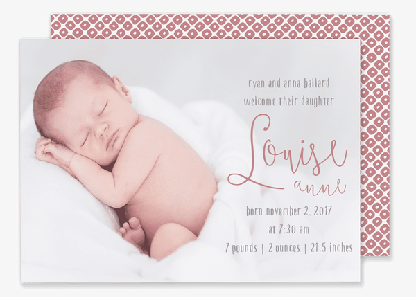 large photo with script name birth announcement pink