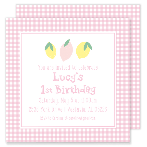 Lucy's Lemonade Party Invitation