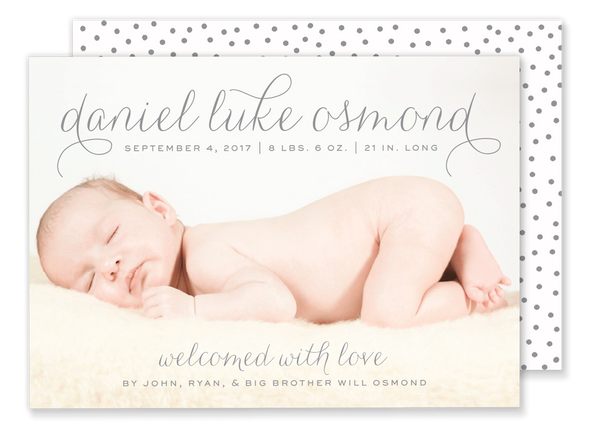 script name baby boy birth announcement with polka dot back pattern