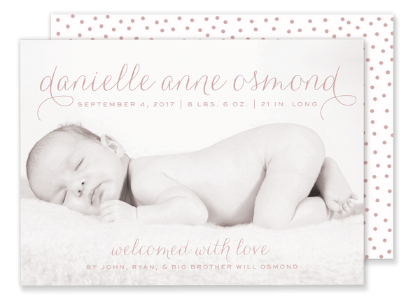 script name baby girl birth announcement with polka dots