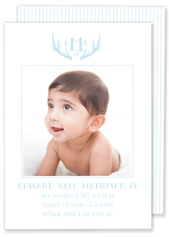 deer antler baby boy birth announcement blue