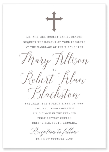 Mary Allison Cross Invitation