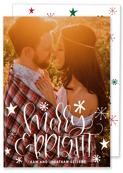 Merry and Bright Vertical Christmas Card