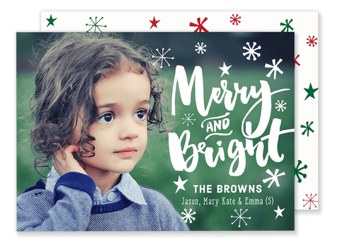 White Merry and Bright Christmas Card