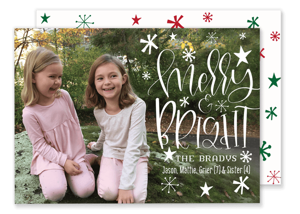 Merry and Bright Horizontal Christmas Card