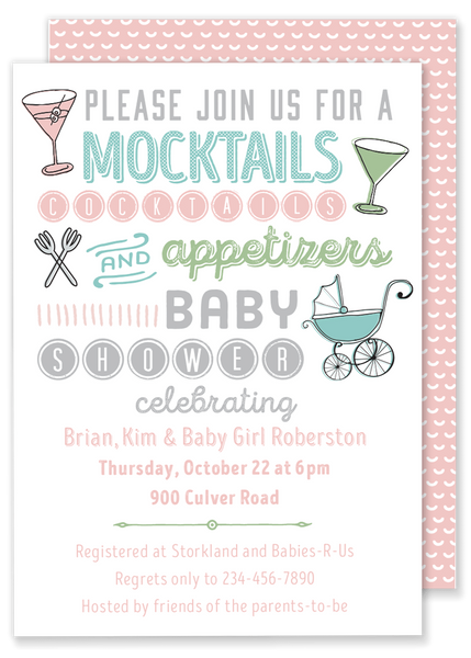 Mocktails, Cocktails and Appetizers Baby Shower