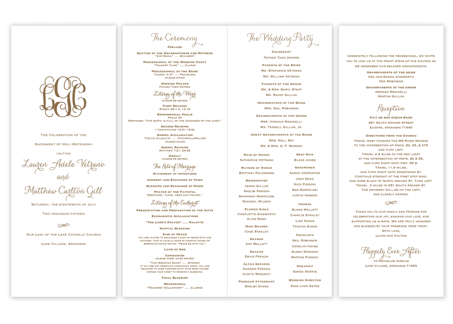 Wedding Ceremony Programs.Classic Vine Monogram Folded Wedding Program