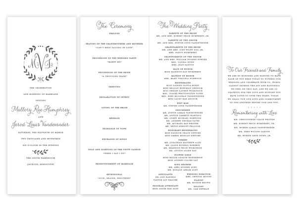 Monogram Wreath \\ Folded Wedding Program