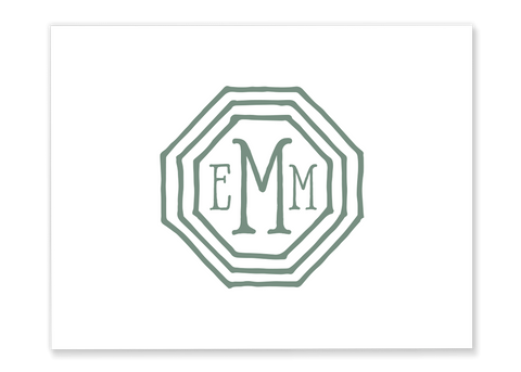 Octagonal Monogram Folded Note Card