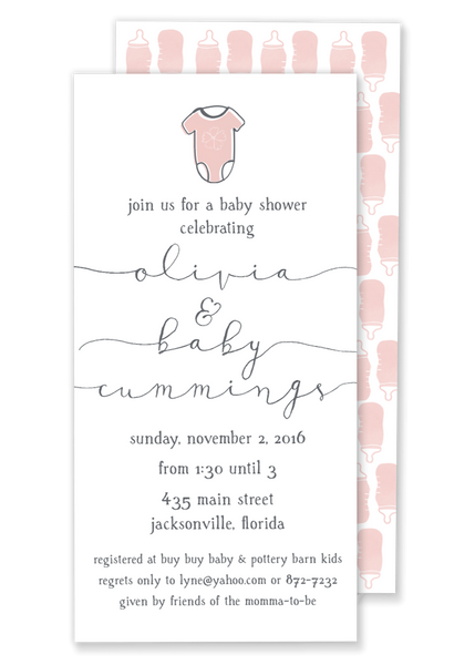 Olivia Onesie Shower invitation