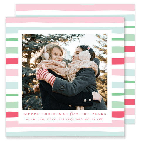 Peak Pink Stripe Square Christmas Card