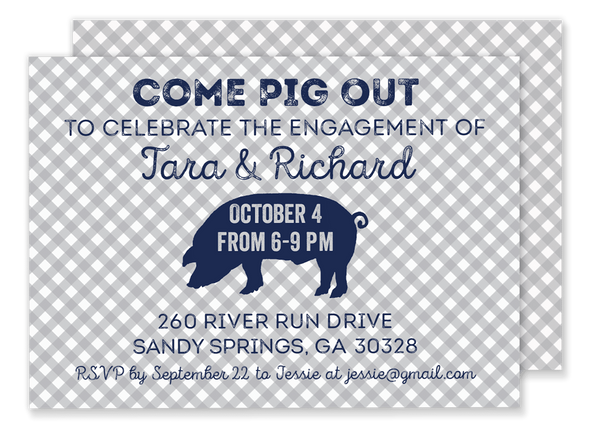 Pig Out shower invitation