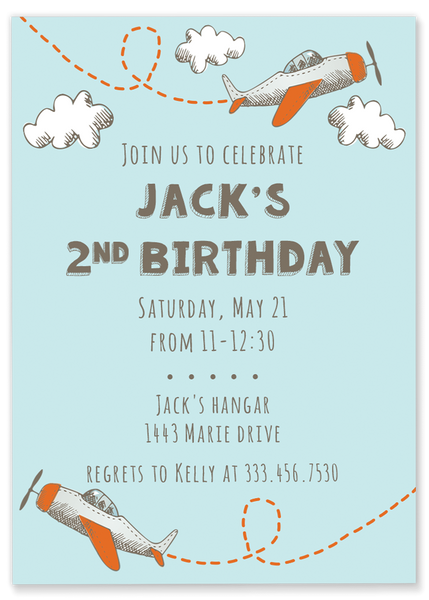 Plane Birthday Invitation