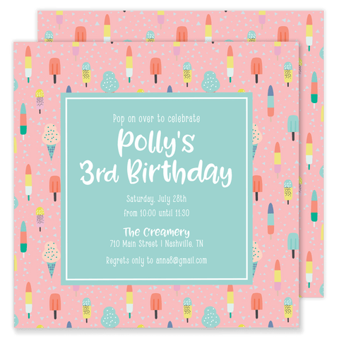 Polly Pop Birthday Party Invitation