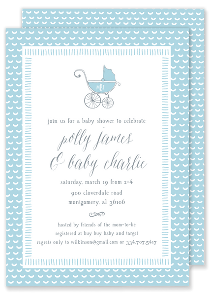 Polly Pram Baby Shower Invitation