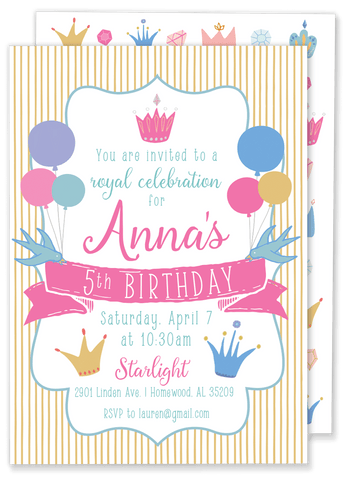 Princess Party Hat Birthday Party Invitation