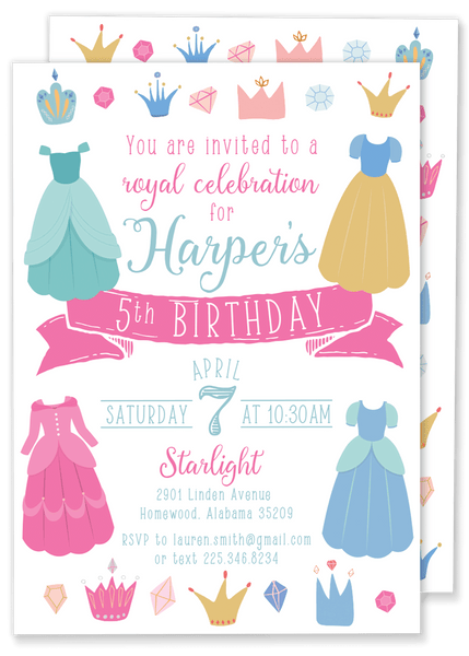 Princess Dress Birthday Party Invitation
