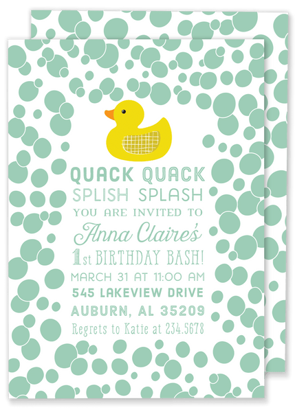 Quack Quack Rubber Duck Invitation