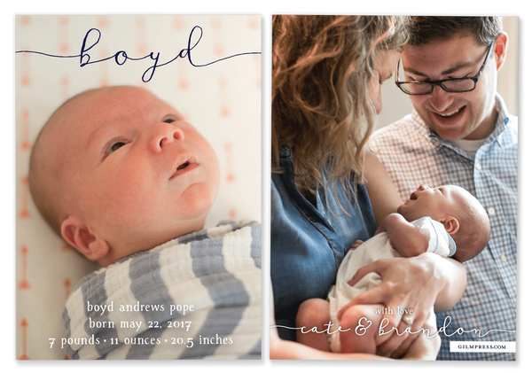blue boy script name birth announcement