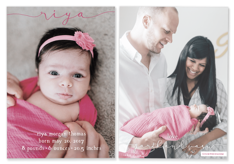pink girl script name birth announcement