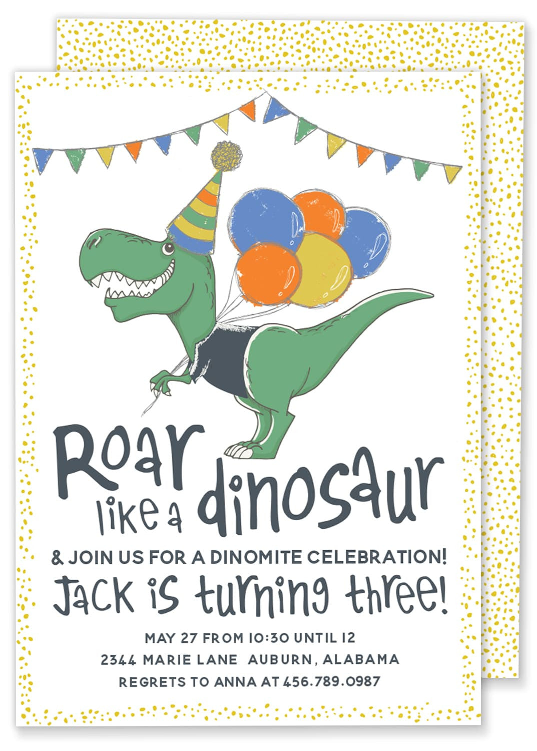 Roar Like A Dinosaur Birthday Party Invitation Gilm Press
