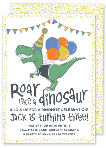 Roar Like a Dinosaur Birthday Party Invitation