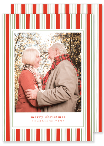 Ryan Red and Green Stripe Christmas Card