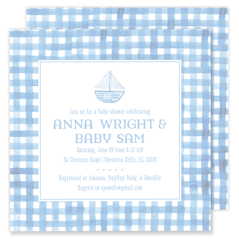 Sam Sailboat Baby Shower Invitation