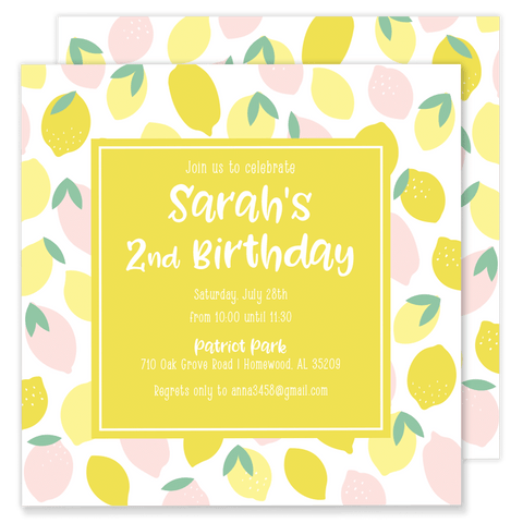 Sarah's Summertime Lemonade Party Invitation