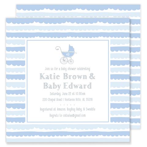 Scalloped Pram Baby Shower Invitation