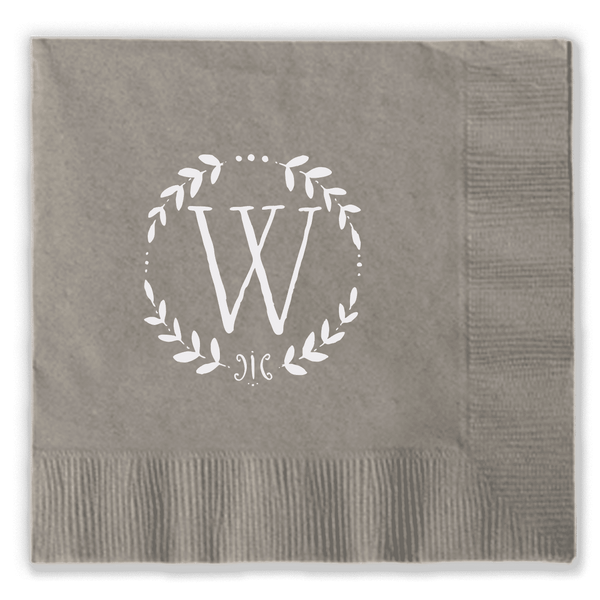 Single Letter Wreath Napkin