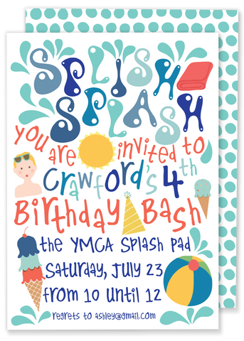 Splish Splash Birthday Party Invitation