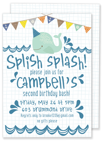 Splish Splash Whale Birthday Party Invitation