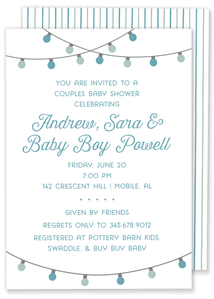 String Lights Baby Shower invitation