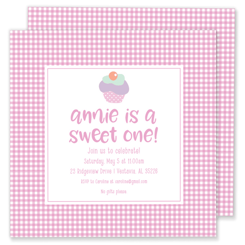 Sweet One Cupcake Birthday Invitation