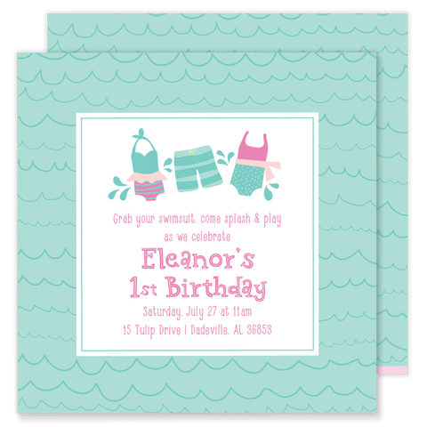Swimsuit Birthday Party Invitation