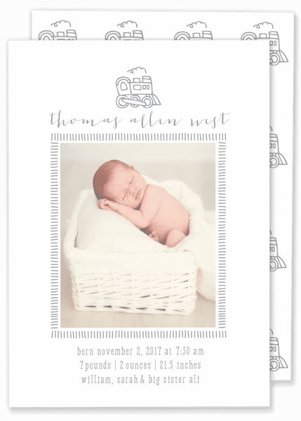 grey boy train photo birth announcement