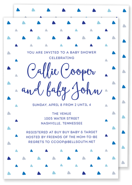 triangle birthday party invitation blue