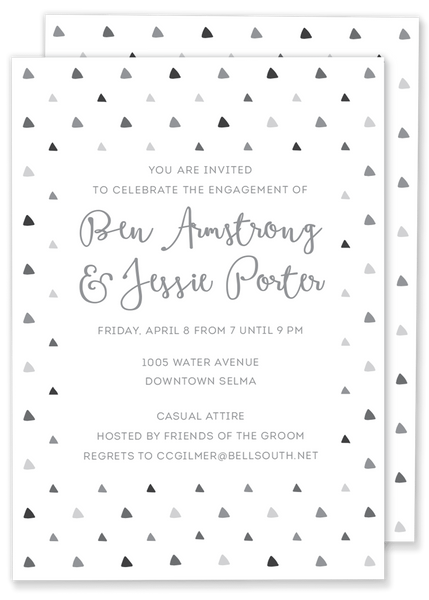 triangle birthday party invitation grey