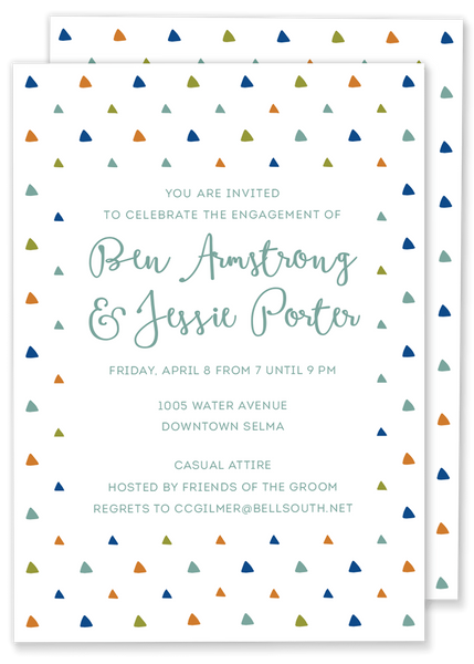 triangle engagement party wedding shower invitation